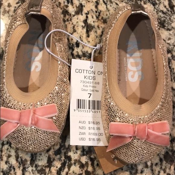 Kids Ballet Flats Gold Pink